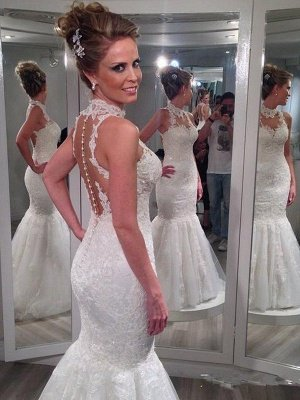 Sleeveless Lace Tulle Sexy Mermaid Wedding Dresses | Floor-Length High Neck Bridal Gowns_3