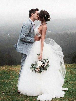 Lace Sleeveless Tulle Floor-Length Halter Wedding Dresses_5