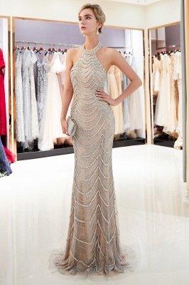 Mermaid Halter Sleeveless Sequined Long Prom Dress | 2019 Evening Dress_1