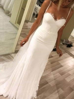 Satin Spaghetti Straps Sleeveless Sweetheart Column Sweep Train Wedding Dresses_3