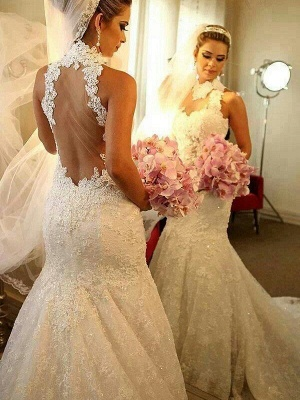Sleeveless Court Train High Neck Lace Sexy Mermaid Wedding Dresses_1