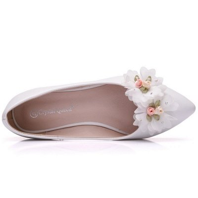 Fashion Pionted Toe PU Flat Wedding Shoes with Flowers_5