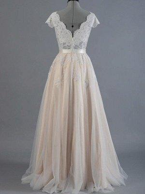 Sweep Train Sleeveless V-neck Applique Lace Wedding Dresses_3