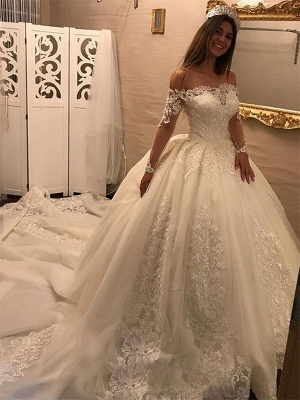 Cathedral Train Tulle Off-the-Shoulder Puffy Long Sleeves Applique Wedding Dresses_1