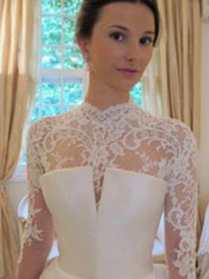 Puffy Long Sleeves High Neck Chapel Train Satin Lace Wedding Dresses_4