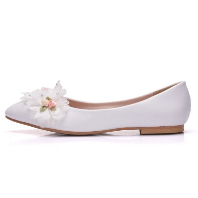 Fashion Pionted Toe PU Flat Wedding Shoes with Flowers_6