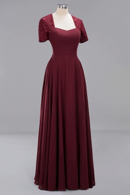 A-Line Chiffon Bridesmaid Dresses | Sweetheart Cap Sleeves Lace Wedding Party Dresses_35