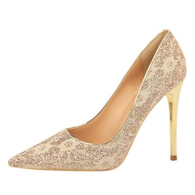 Fashion Pionted Toe High Heel Lace Wedding Shoes_4