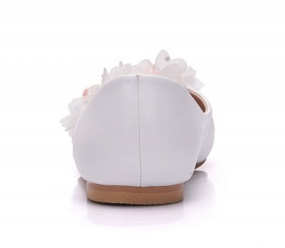 Fashion Pionted Toe PU Flat Wedding Shoes with Flowers_7