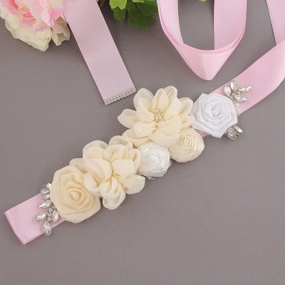 Fashion Chiffon Flowers Wedding Sash with Beadings_3