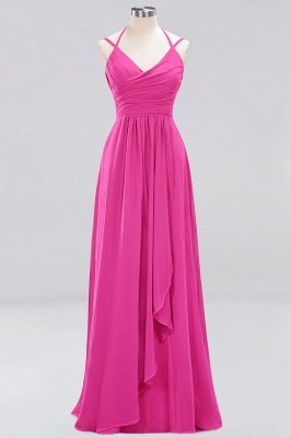 A-line  Spaghetti Straps Sleeveless Ruffles Floor-Length Bridesmaid Dresses_6