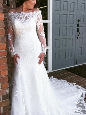 Charming Applique Tulle Long Sleeves Off-the-Shoulder Train Sexy Mermaid Wedding Dresses_1