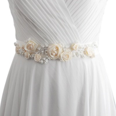 Elegant Satin Flowers Wedding Sash with Beadings_1