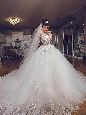 Dramatic Puffy V-neck Long Sleeves Tulle Court Train Wedding Dresses_3
