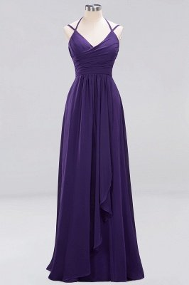 A-line  Spaghetti Straps Sleeveless Ruffles Floor-Length Bridesmaid Dresses_11