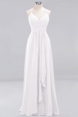 A-line  Spaghetti Straps Sleeveless Ruffles Floor-Length Bridesmaid Dresses_1