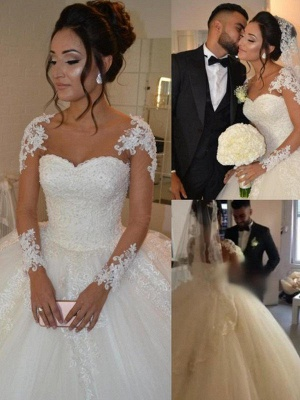 Gorgeous Court Train Tulle Scoop Long Sleeves Applique Puffy Wedding Dresses_3