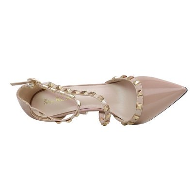 Fashion Pionted Toe High Heel Buckle Wedding Shoes with Rivets_6