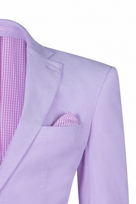 Custom Made Hot Recommend Lavender Peak Lapel Single Breasted Wedding Suit_4