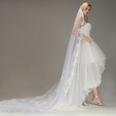 One Layer Wedding Veil with Comb Lace Edge Appliqued Bridal Veil?_6