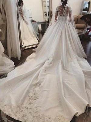 Long Sleeves Satin Puffy Scoop Cathedral Train Applique Wedding Dresses_3