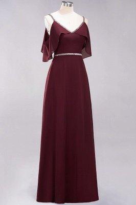 elegant A-line  V-Neck Spaghetti Straps Sleeveless Floor-Length Bridesmaid Dresses with Beading Sash_7