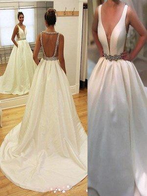 Charming Sleeveless V-neck Court Train Satin Wedding Dresses_1