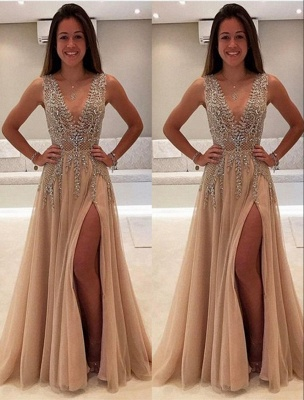 Glittering Champagne Prom Dresses | Crystals V-Neck Slit A-Line Evening Gowns_2