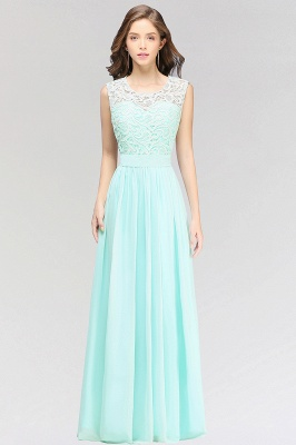A-line  Lace Jewel Sleeveless Floor-Length Bridesmaid Dress with Ruffles_1
