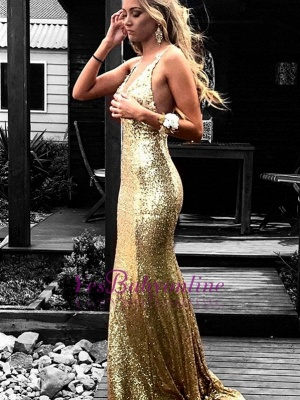 Sequins Open Back Sexy Gold Evening Gowns_2