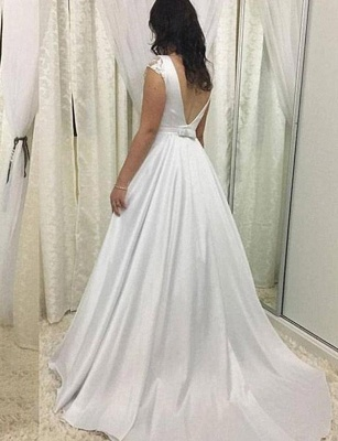 Elegant Round Neck Cap Sleeves A-Line Long Prom Dress with Lace_3
