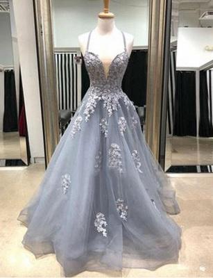 Glamorous Appliques Spaghetti Straps A-Line Sweep Train Prom Dress_1