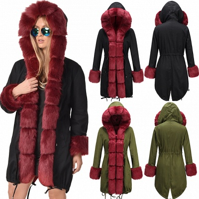 Hooded Camo Military Parka Coat with Premium Red Fur Trim_4
