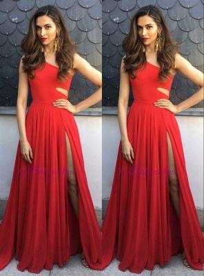 Elegant One-Shoulder Sleeveless A-Line Side-Slit Prom Dresses_2