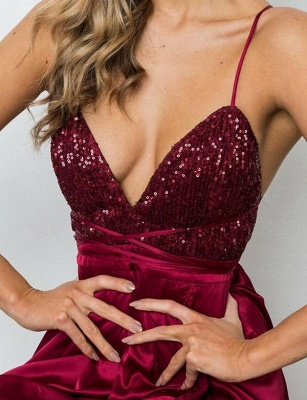 Sexy A-Line Spaghetti Straps V-Neck Sequins Burgundy Prom Dress_5
