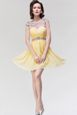 A-Line  Sweetheart Sleeveless Ruffles Mini Bridesmaid Dress with Beading_3