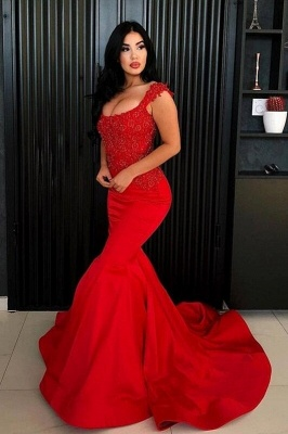 Sexy Mermaid Straps Prom Dress   2019 Long Lace Appliques Evening Gowns_2