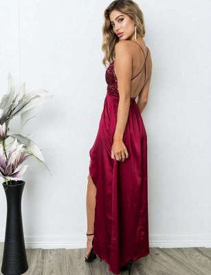 Sexy A-Line Spaghetti Straps V-Neck Sequins Burgundy Prom Dress_7