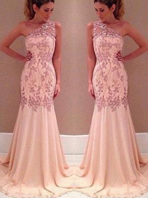 Mermaid Applique Long Sexy Pink One-Shoulder Chiffon Evening Dresses_2