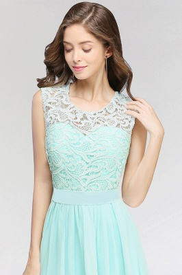 A-line  Lace Jewel Sleeveless Floor-Length Bridesmaid Dress with Ruffles_5