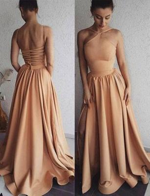 Glamorous A-Line Spaghetti Straps Long Prom Sweep Train Evening Dress_1