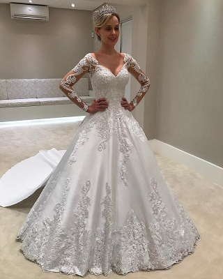 Gorgeous Long Sleeves Satin V-Neck Applique Wedding Dresses_1