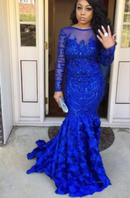 Beading Mermaid Backless Prom Dresses | Long Sleeves Royal Blue Evening Gowns_2