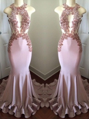 Sparkly Long Mermaid Prom Dresses   Sleeveless Keyhole Neck Evening Gowns_2