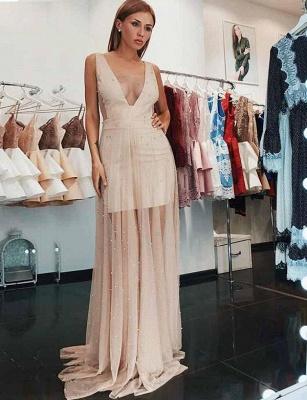 Chaming V-Neck Sleeveless  A-Line Beading Champagne Prom Dress_1