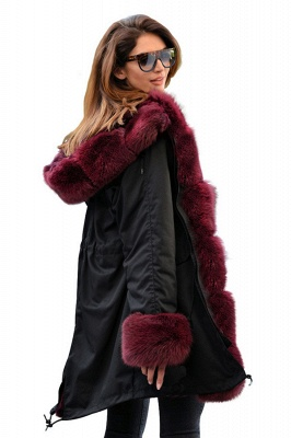 Hooded Camo Military Parka Coat with Premium Red Fur Trim_2