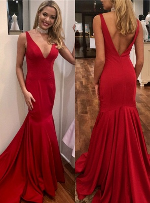 Simple Red Mermaid Evening Dresses | Sexy Open Back Long Prom Dresses_2