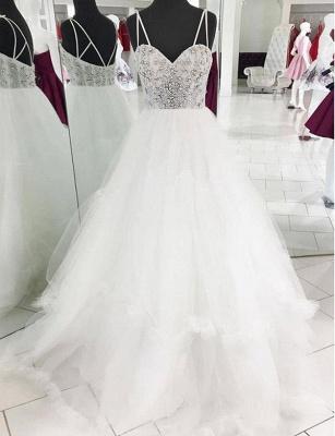 Elegant  Spaghetti Straps A-Line Beading White Long Prom Evening Dress_1