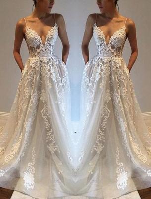 Glamorous A-line Spaghetti Straps Lace Appliques V-Neck Pockets Wedding Dresses_2