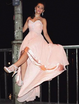 Charming Sleeveless Appliques A-Line Sweetheart High Low Prom Homecoming Dress_3